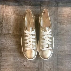 "Keds ""Triple Up Metallic Twill"" Gold Sneakers"